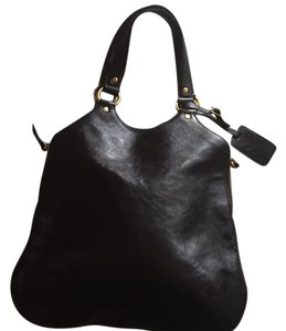 Saint Laurent Shoulder Leather Tote in Black/brown