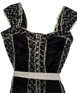 bebe Silk Corset Cami Clubwear Top Black and White