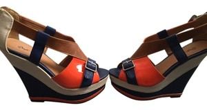 Qupid Off white, blue, orange, brown Wedges