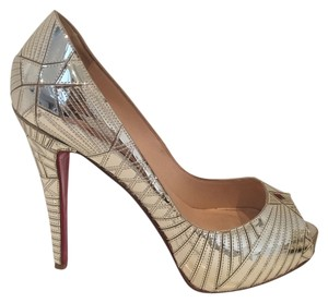 Christian Louboutin Red Sole Mirrored Silver Pumps
