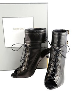 Tom Ford Lace Up Peep Toe Ankle Ankle Strap Black Boots