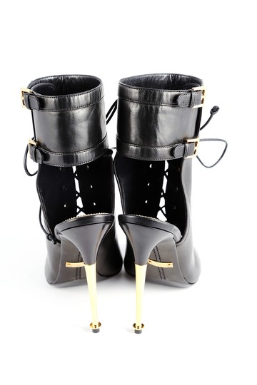 Tom Ford Lace Up Peep Toe Ankle Ankle Strap Black Boots Image 3