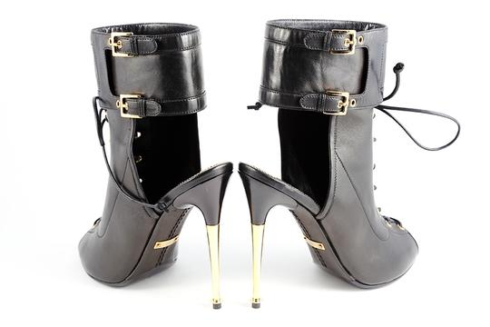 Tom Ford Lace Up Peep Toe Ankle Ankle Strap Black Boots Image 5