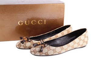 Gucci Monogram Canvas Bow Leather Sole Brown Flats