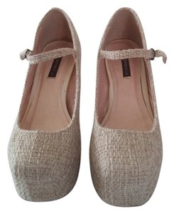 Shoe Republic LA Creme and beige Platforms