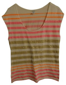 Old Navy T Shirt Pink, orange, tan, white