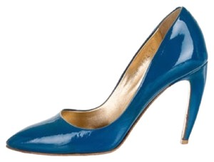 Walter Steiger Imported Monogram Patent Leather Leather Logo Classic blue Pumps