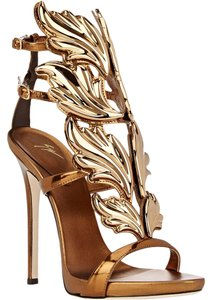 Other Cruel Summer Heel Heels Metallic Leaf Leaves Leafs Celebrity Unique Italy Luxury Size 38.5 8.5 Bronze Sandals