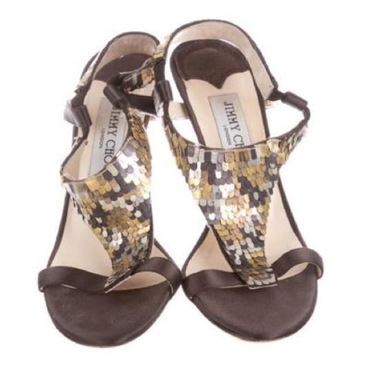 Jimmy Choo Imported Sequin Monogram Logo Italian Leather Sandals Image 1