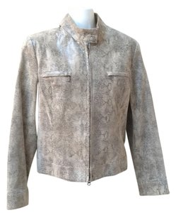 Alfani Leather Snake Motorcycle Moto Medium Tans Leather Jacket