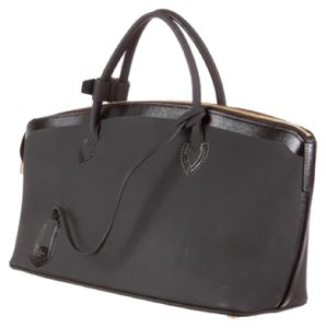 Louis Vuitton Leather Monogram Logo Limited Edition Rare Rubber Imported Italian Satchel in black - item med img