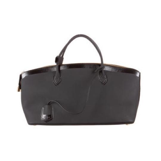 Louis Vuitton Leather Monogram Logo Limited Edition Rare Rubber Imported Italian Satchel in black