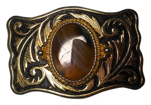 Gold and Brown Agate Gemstone Belt Buckle Large PROD006