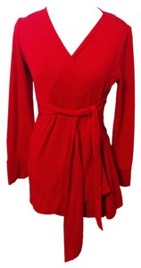 Maria Navarro Red Maternity Overlap V-Neck Wrap Top
