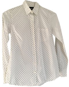 J.Crew Polka Dot Navy J Crew Shirt Button Down Shirt Ivory