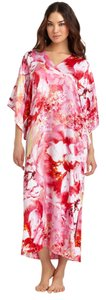 Multi Pink Maxi Dress by Natori Josie Kaftan Bellarocca Pink Satin Kimono Gown V Neck