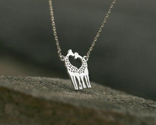 Other New Giraffe Necklace, Twin Giraffe necklace in shape of heart in silver Image 1