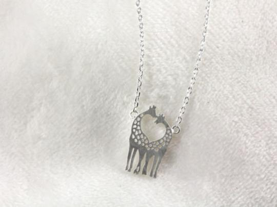 Other New Giraffe Necklace, Twin Giraffe necklace in shape of heart in silver Image 2
