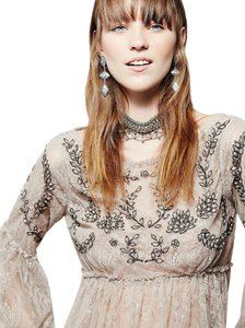 Free People Unicorn Beaded Lace Beige Bohemian Top