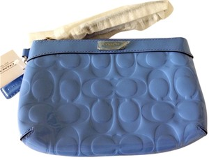 Coach Patent Patent Leather Wristlet in Sky