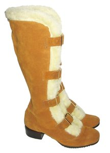 Oldmaine Trotters Mod Winter Caged Gladiator Suede Faux Fur Buckled Go Go Vintage Anvintro Tan Cream Boots