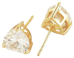 New Exquisite Womens Heart CZ Yellow Gold Filled Stud Earrings