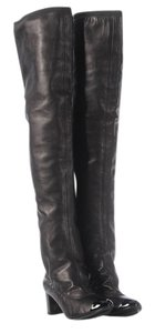 Chanel Calfskin Over The Knee Black Boots