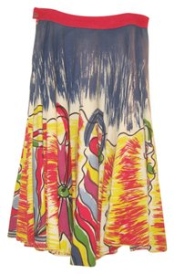 Mexican Fiesta Hand Painted Skirt Blue with yellow, green red