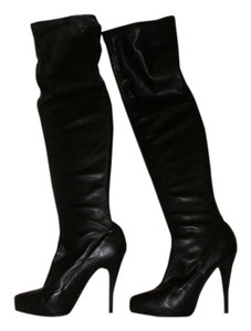bebe Over The Knee Soft Leather Black Boots