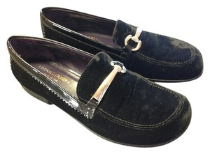 Donald J. Pliner Suede Patent Leather Silver Hardware Wedge Black Flats