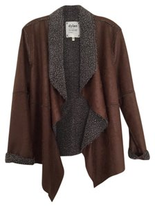 True Grit Embossed Faux Suede Sherpa Pile Vintage brown Leather Jacket