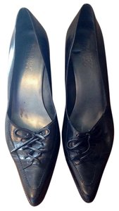 Franco Sarto Leather Pointy Toe Bow Black Pumps