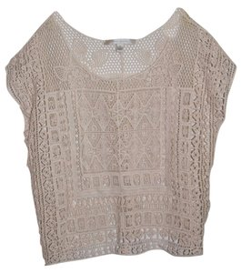 LC Lauren Conrad Top Crochet Ivory