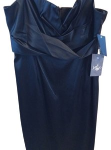 Donna Ricco Little Satin Boning Wedding Cocktail Brand New Spaghetti Strap Adjustable Straps Bustier Lord And Taylor V-neck Dress