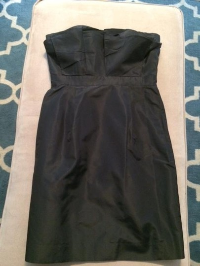 J.Crew Black Silk Taffeta Mika Modern Bridesmaid/Mob Dress Size 4 (S)