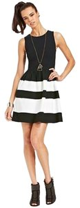 Bar III Striped Stripes A-line Cocktail Casual Wear To Work Discount Zipper Sleeveless Classic Dress
