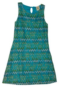 Lemon Figg short dress Blue/Green/White Chevron on Tradesy