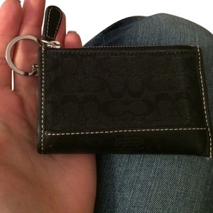 Coach Card Case Card Holder Zipped Monogram Leather Key Ring Keyring Wristlet in Black