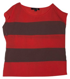 Forever 21 Color Color-blocking Top Coral/Tan Stripes