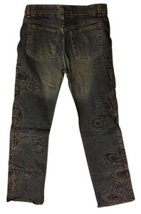 Roberto Cavalli Embrodered Sexy Embroidery Dark Rinse Flare Leg Jeans-Dark Rinse