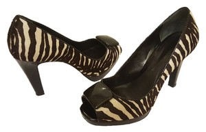 Ann Taylor Zebra Haircalf Peep Toe Patent Leather Pony Hair Black/Ivory Pumps