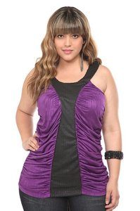 Torrid Z. Cavaricci 2x 18/20 Ruched Top Purple