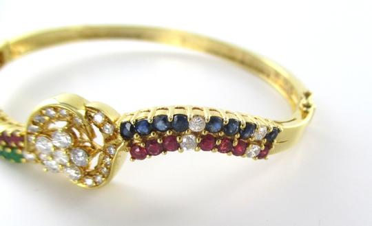 Other 18KT Solid Yellow Gold Bracelet with 31 Diamond= 1 carat Emeralds, Precious Stones