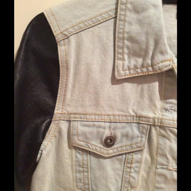 Topshop Faux Leather blue and black Womens Jean Jacket Image 1