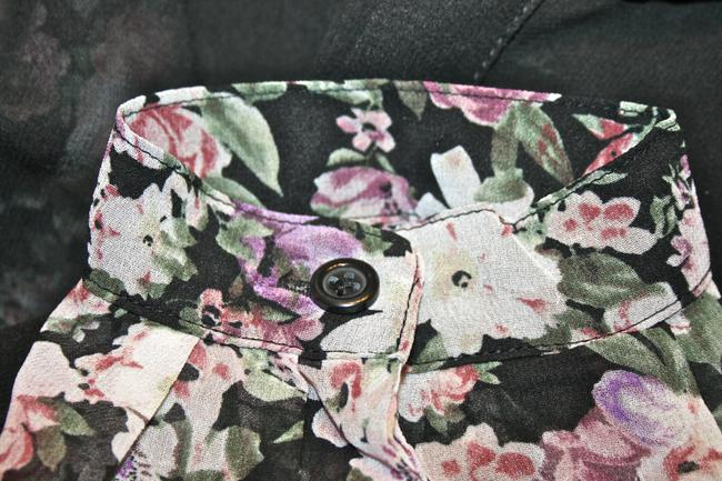 Forever 21 Sheer Collar Button Up Floral Top black, pink, cream