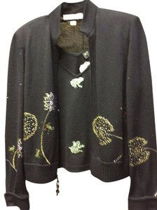 ST. JOHN EVENING BY MARIE GRAY Crystals Studded Sequins Sweater