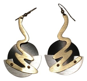 Other Artisan Contemporary Matte, Brushed Silvertone, Goldtone and Black Hanging Earrings