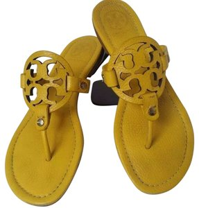 Tory Burch Leather Snake Embossed Leather Yellow Sandals