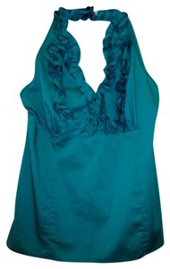 Cato Xl Stretch Fitted Ruffled Green Halter Top
