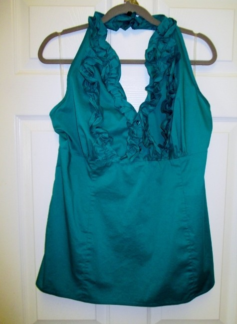 Cato Xl Stretch Fitted Ruffled Tank Green Halter Top
